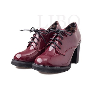 New Fashion Vintage Lacing Pointed Toe Thick Heels Women England Style Women High Heels Oxfords Shoes Sapatos Femininos