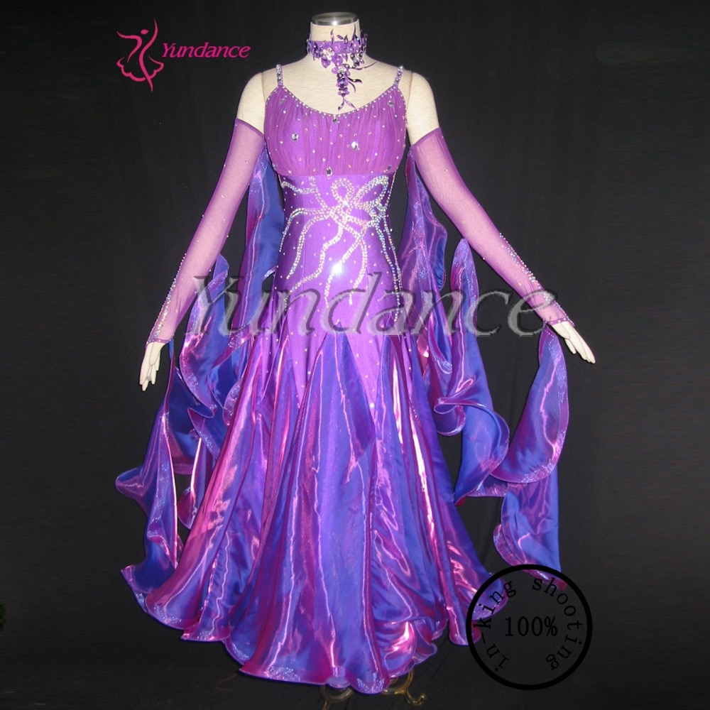New Half-sleeves Luxury Purple Ballroom Dance Dresses In China  B-09271