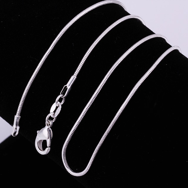 2pcs/LOT wholesale , hot silver colornecklace wedding fashion jewelry Snake Chain 1mm Necklace 16-30inches women men