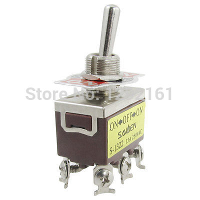 15A/250VAC on/off/on 3 Position 2P2T DPDT interruptor de palanca 6 terminales de tornillo 1322