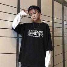 Cool lettre imprimer japon Harajuku noir blanc Hip Hop T-shirts hommes femmes printemps faux deux pièces à manches longues lâche t-shirt femmes