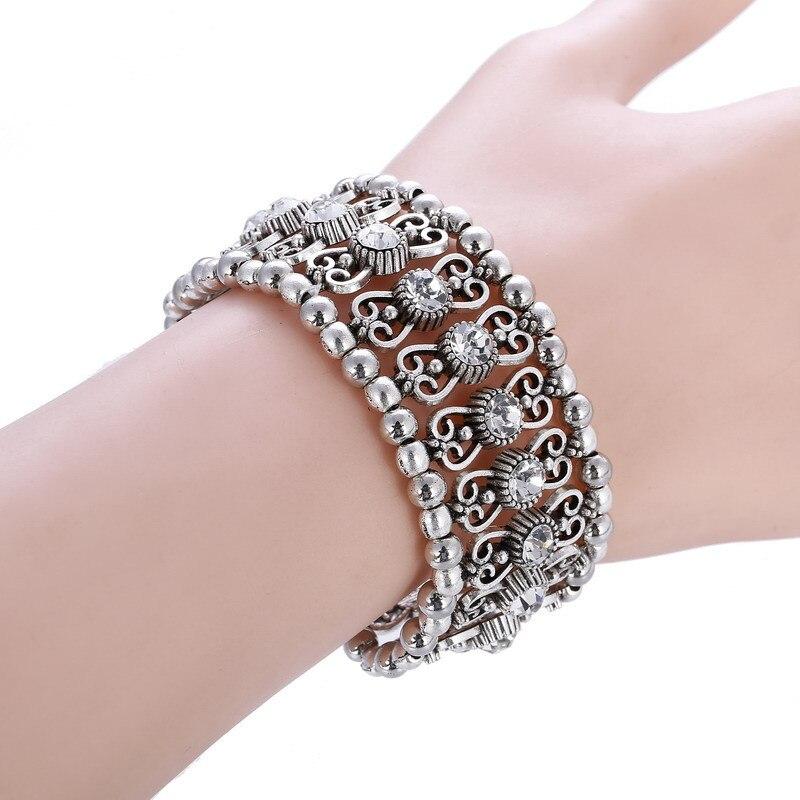 LOVBEAFAS Vintage Boho Adjustable Bracelets Bangles For Women 2018 Fashion Carving Multi Layer Crystal Rhinestone Charm Bracelet