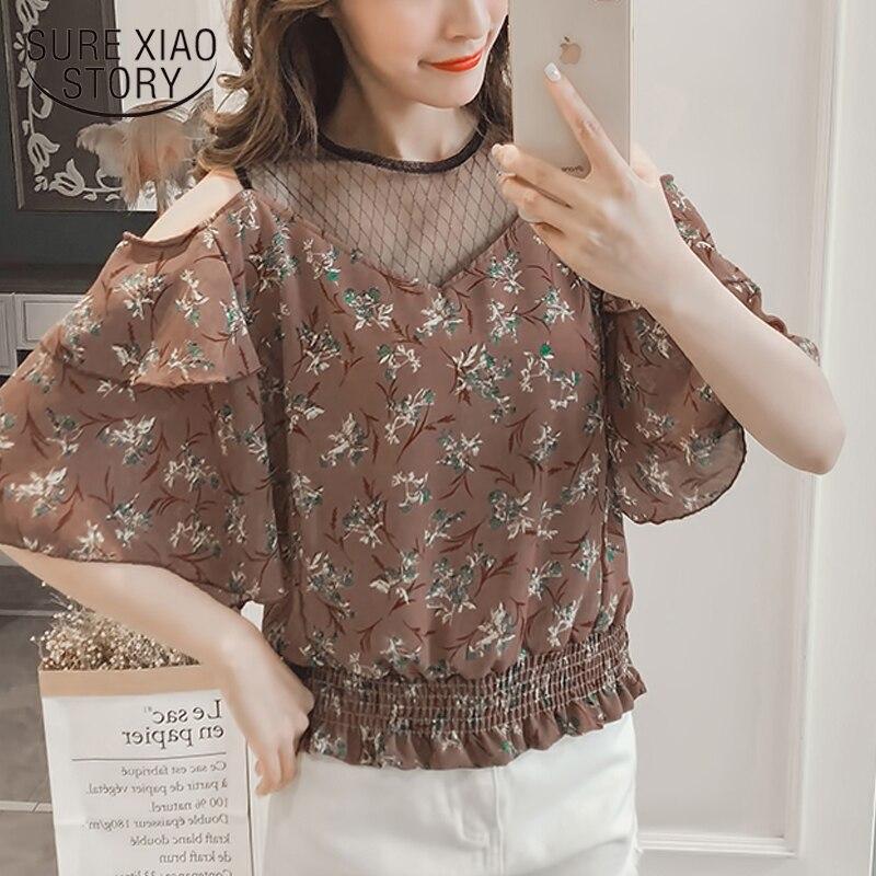 2018 nueva moda de primavera blusas de manga corta de gasa de encaje casual patchwork camisas mujeres tops imprimir encaje mujeres ropa D605 30