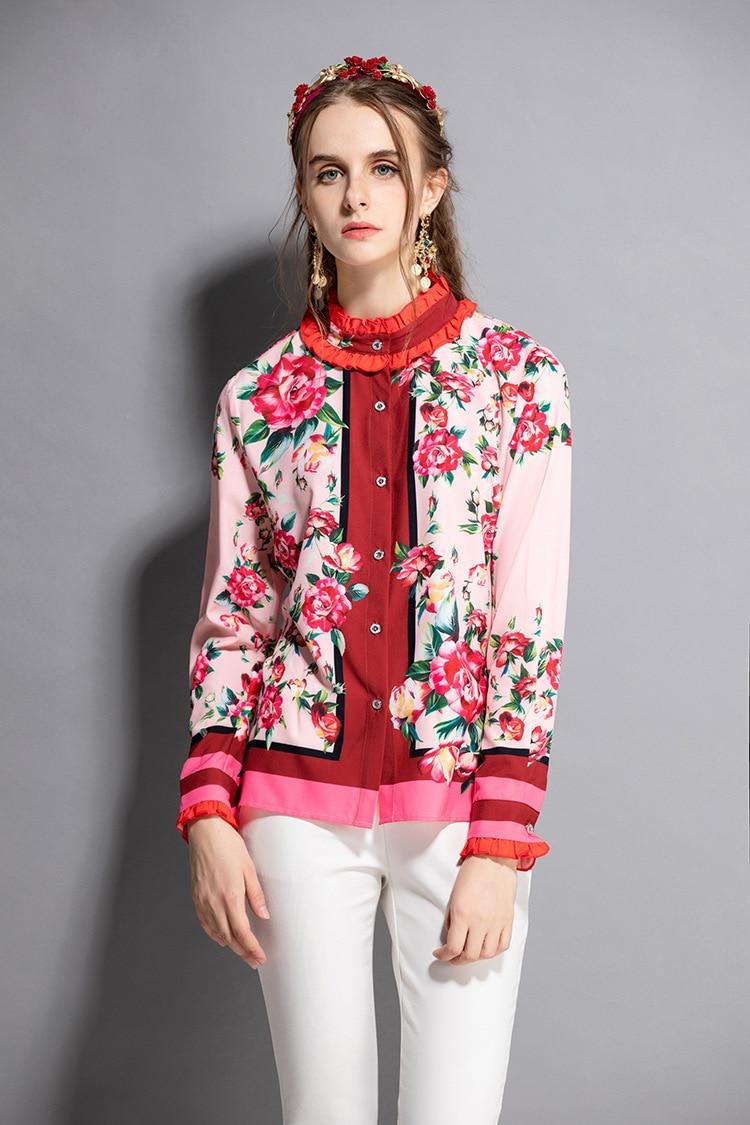 High quality design floral print long sleeve Shirt New 2018 autumn runways ruffled blouses Tops D190