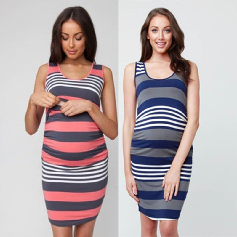 New Maternity Dress Pregnant Women Summer Sleeveless Striped Dresses Breastfeeding Nursing Pregnancy clothes
