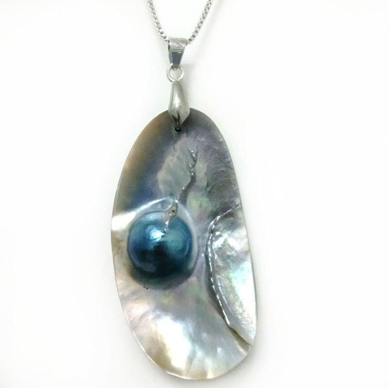 Collar con colgante de perlas Mabe gris Natural de Plata de Ley 925 de 18 pulgadas