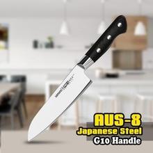 TUO couverts couteau Santoku-AUS-8 couteau de cuisine japonais en acier inoxydable à haute teneur en carbone-poignée G10 ergonomique noire-7'