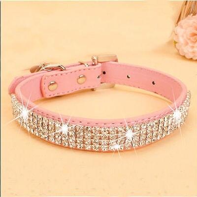 Coleiras de cão de strass bling pet couro do plutônio cristal diamante filhote de cachorro colar rosa vermelho coleiras e trelas para acessórios do cão