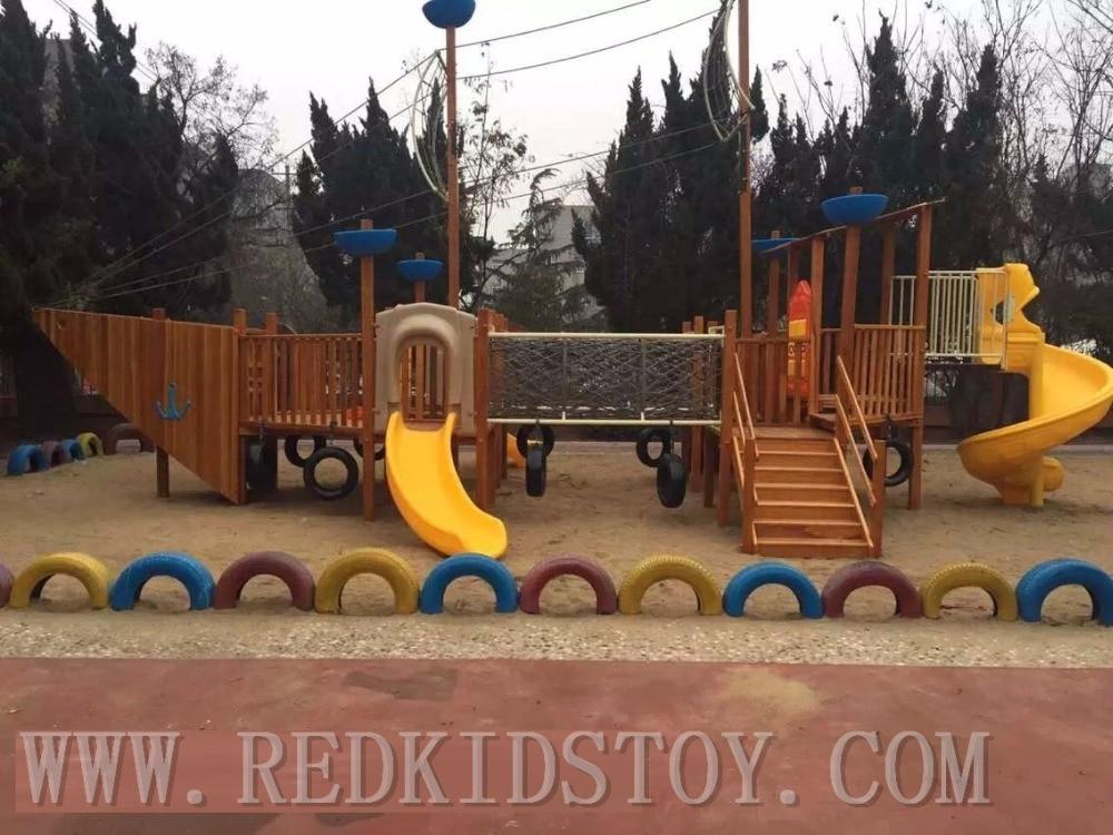 Exportación a Malasia, parque infantil de madera, parque infantil de alta calidad, barco pirata de madera HZ-19301 niños