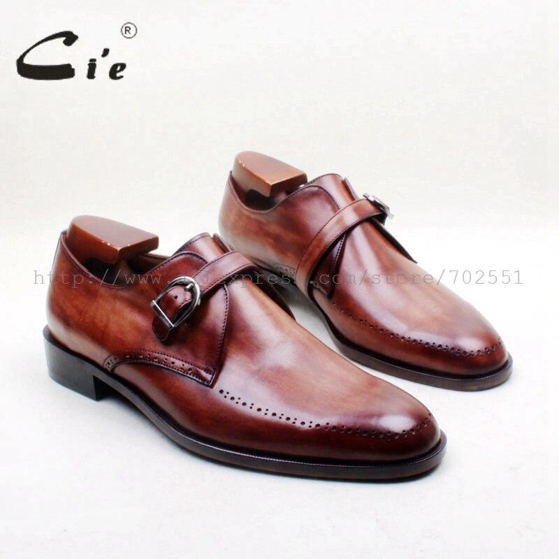 حذاء رجالي من جلد العجل الأصلي ، حذاء بمقدمة دائرية ، أحزمة راهب واحدة ، مطلي يدويًا ، بني 100% ، MS154