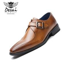 Hommes de luxe marque affaires robe chaussures en cuir véritable chaussures de mariage formelles simple moine boucle sangle chaussures plates zapatos hombre
