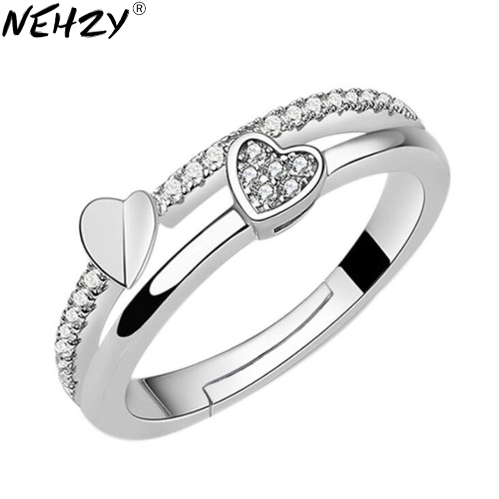 NEHZY 925 sterling silver New Woman Cubic zirconia silver ring opening the adjustable ring asymmetri