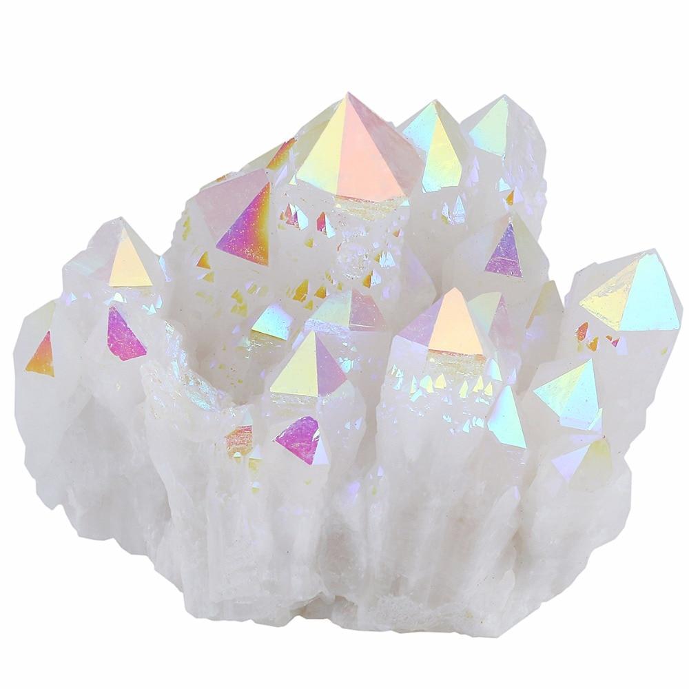 TUMBEELLUWA Angel Aura Quartz Titanium Coated Natural Crystal Cluster Stone Specimne,Healing Metaphysical