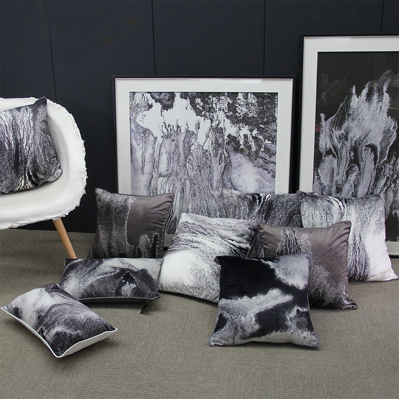 Funda de almohada de abstracción textura de tinta funda de almohadón decorativo Original