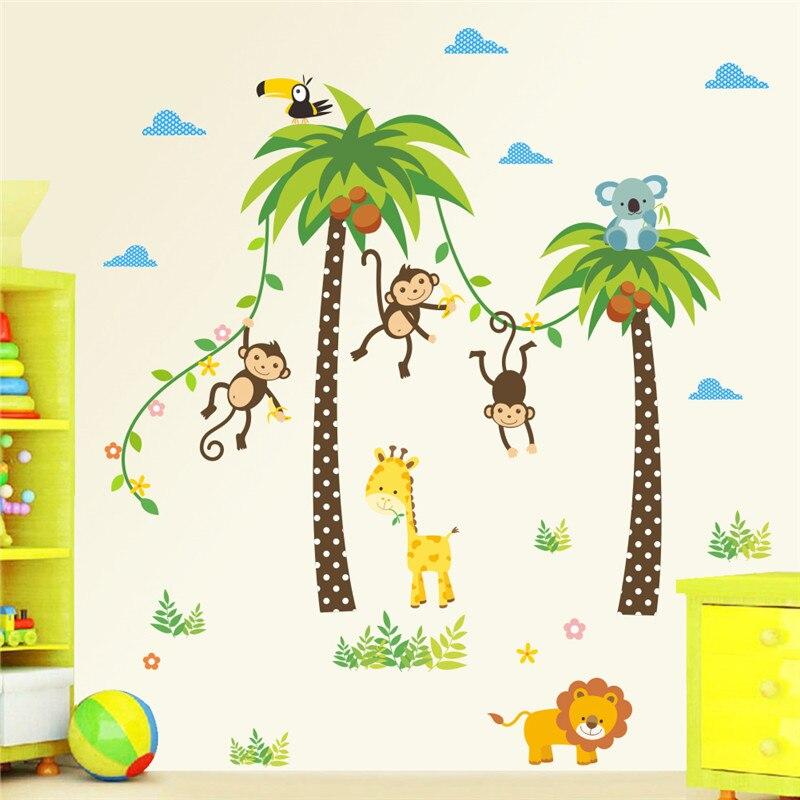 Jirafa León mono Palm árbol pared pegatinas para niños habitación niños pared del dormitorio vivero de calcomanías de póster Mural para Decoración