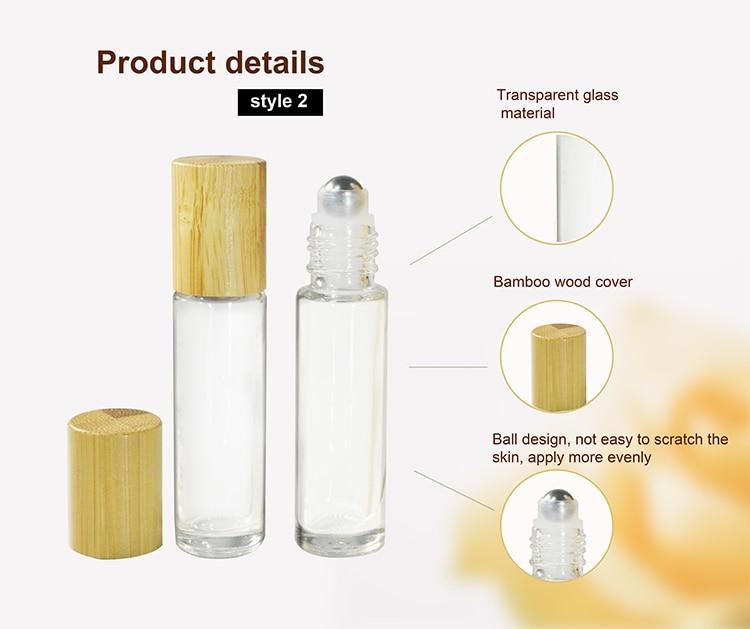 250 piezas. 10 ml rollo negro transparente en botella de rodillo para aceites esenciales botella de Perfume recargable contenedores de desodorante con bambú tapas
