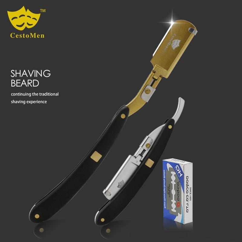 Mango de sándalo barba afeitadora afeitar profesional de peluquería cuchillos para el cabello cuchillo de afeitar intercambiable herramientas para la barba