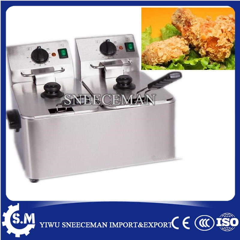 Freidora eléctrica de doble cilindro de 8L para patatas fritas, pollo, sartén eléctrica, uso comercial