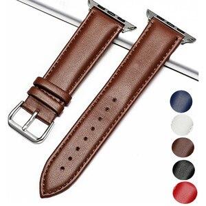 Ремешок из натуральной кожи для Apple Watch band 4 3 42 мм 38 мм, спортивный браслет для наручных часов 44 мм/40 мм, аксессуары для часов