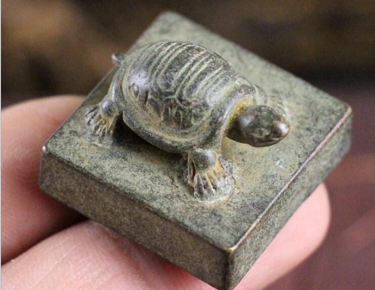 Copper ornaments ornaments antique handicraft small tortoise seal seal