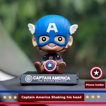 Siège de parfum de voiture   Solide et créatif, parfums mignons, dessin animé Captain America, tableau de bord pour Auto, désodorisant saveur dans la voiture