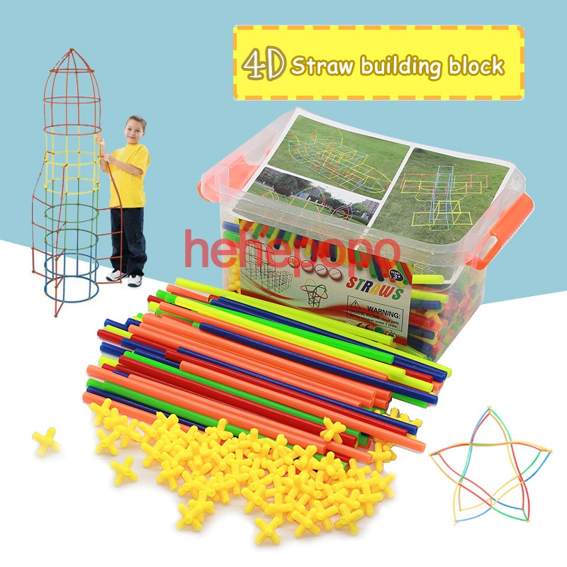 4D Space Straw Clicking Blocks Assembly Buliding Blocks Toys Children's Straws Toys Pipette Stitching Assembly Straw Toy