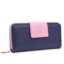 Mode portefeuilles femmes en cuir PU dames sacs à main femme marque longue fermeture éclair porte-monnaie femmes portefeuille porte-carte pochette colorée