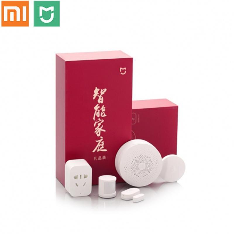 Xiao mi jia kit gateway porta da janela de casa inteligente sensores sensor do corpo sem fio interruptor mi 5 em 1 kit segurança em casa inteligente