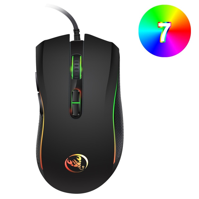 Hongsund brand High-end optical professional gaming mouse with 7 bright colors LED backlit and ergonomics design For LOL CS 2