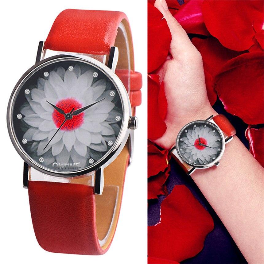 OKTIME Femmes et hommes montre décontracté en cuir bande analogique boucle Quartz montre en noir rose rouge blanc jaune Montres Femmes D30