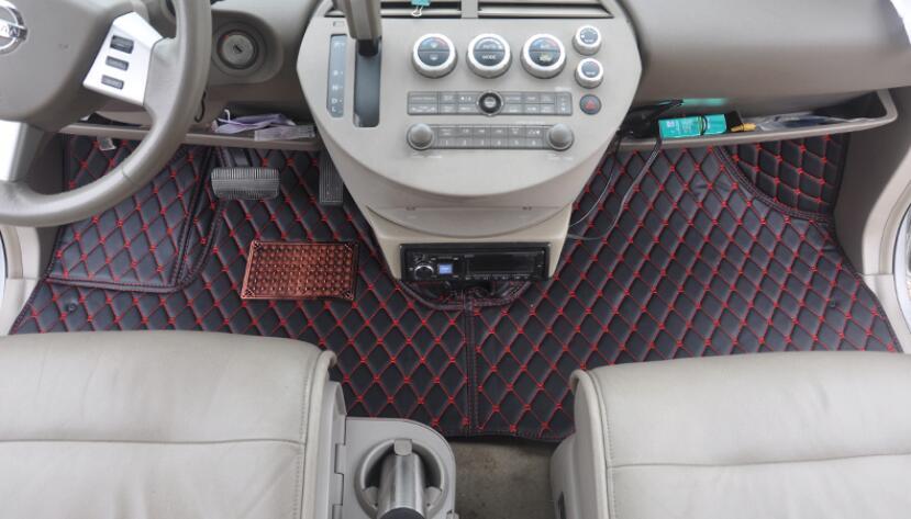 Accesorios del coche de estilo de pie de 3D de cuero de lujo coche tapetes para Nissan búsqueda 7 asientos 2011 a 2013 de 2012 2014, 2015, 2016,