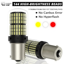 Lampe clignotant T20 7440 W21W W21/5W 1156   1 pièce, ampoules Canbus 144smd 1157 P21W, BA15S PY21W BAU15S BAY15D