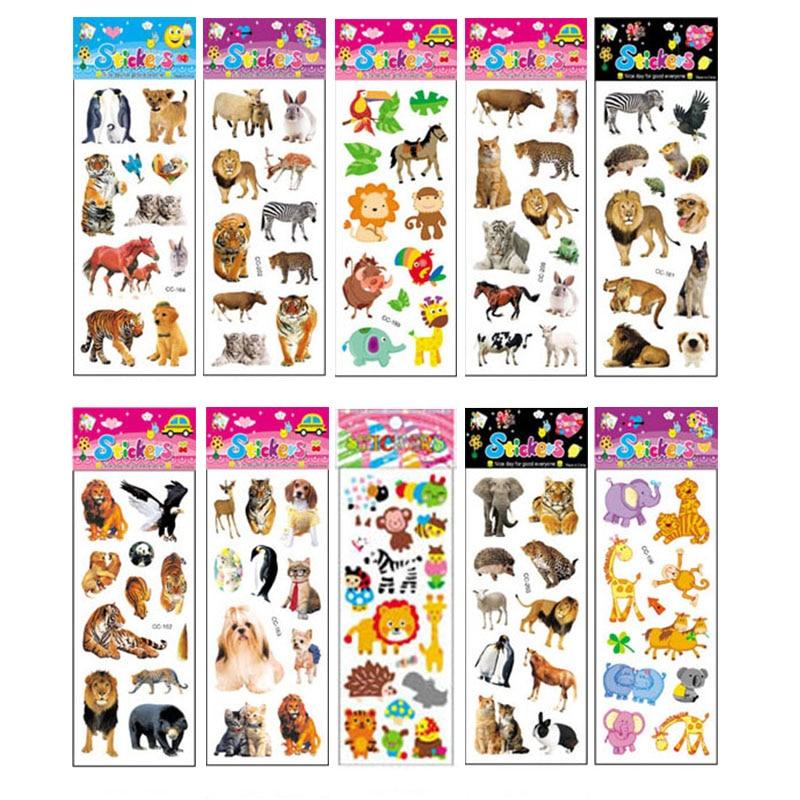 10 hojas diferentes 3D Pegatinas con dibujos animados juguetes gatinas divertido juguete para niños en álbum de recortes teléfono Laptop regalos animales Tigre