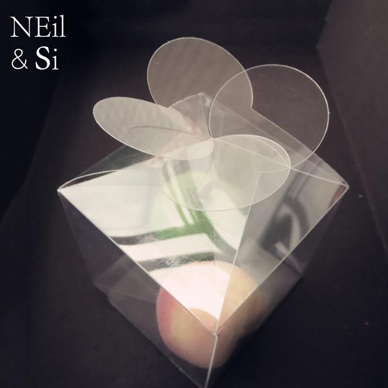 Caja de trébol de hoja transparente Flor de plástico boda Favor regalo caramelo cajas de embalaje de jabón hecho a mano PVC transparente envío gratis