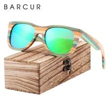 BARCUR Gradient Women Sunglasses Bamboo Polarized Sun Glasses for Men Mirror Square Eyewear UV400 lunette de soleil femme