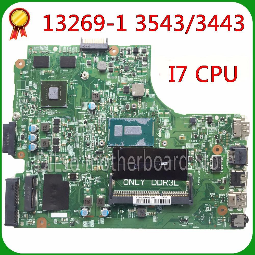 KEFU 13269-1 For DELL 3543 DELL 3443 motherboard 13269-1 PWB FX3MC REV A00 motherboard  I7 cpu GT820M original Test motherboard