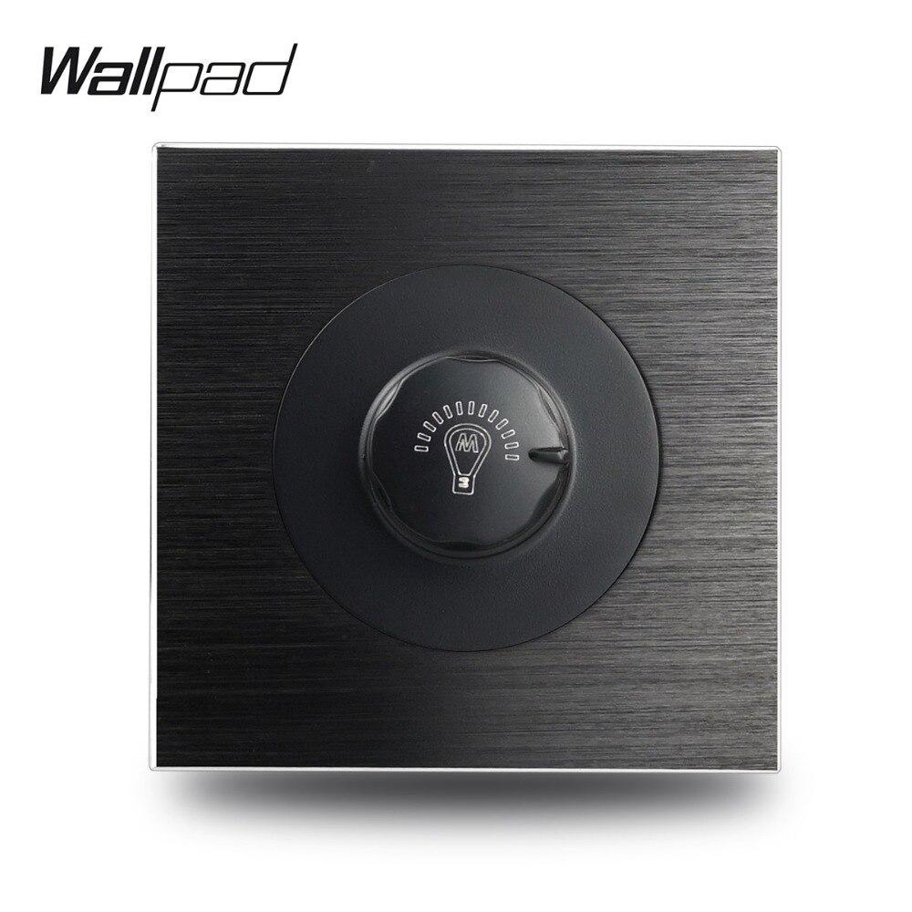 Wallpad L6 Satin Black Metal 1 Gang Wall Dimmer Switch Controller Aluminum Plate 500W