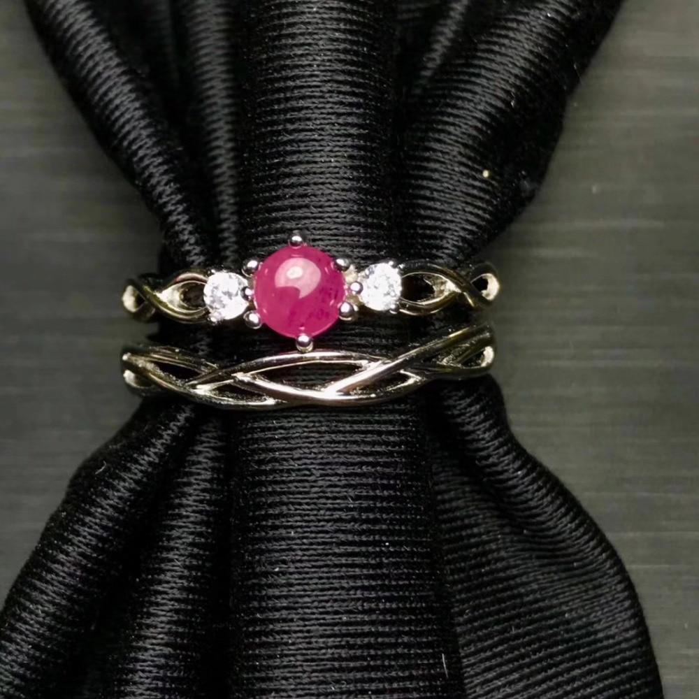 Moda elegancia doble lleva anillo de rubí rojo Natural S925 anillo de piedras preciosas naturales de plata niña anillo de boda joyería