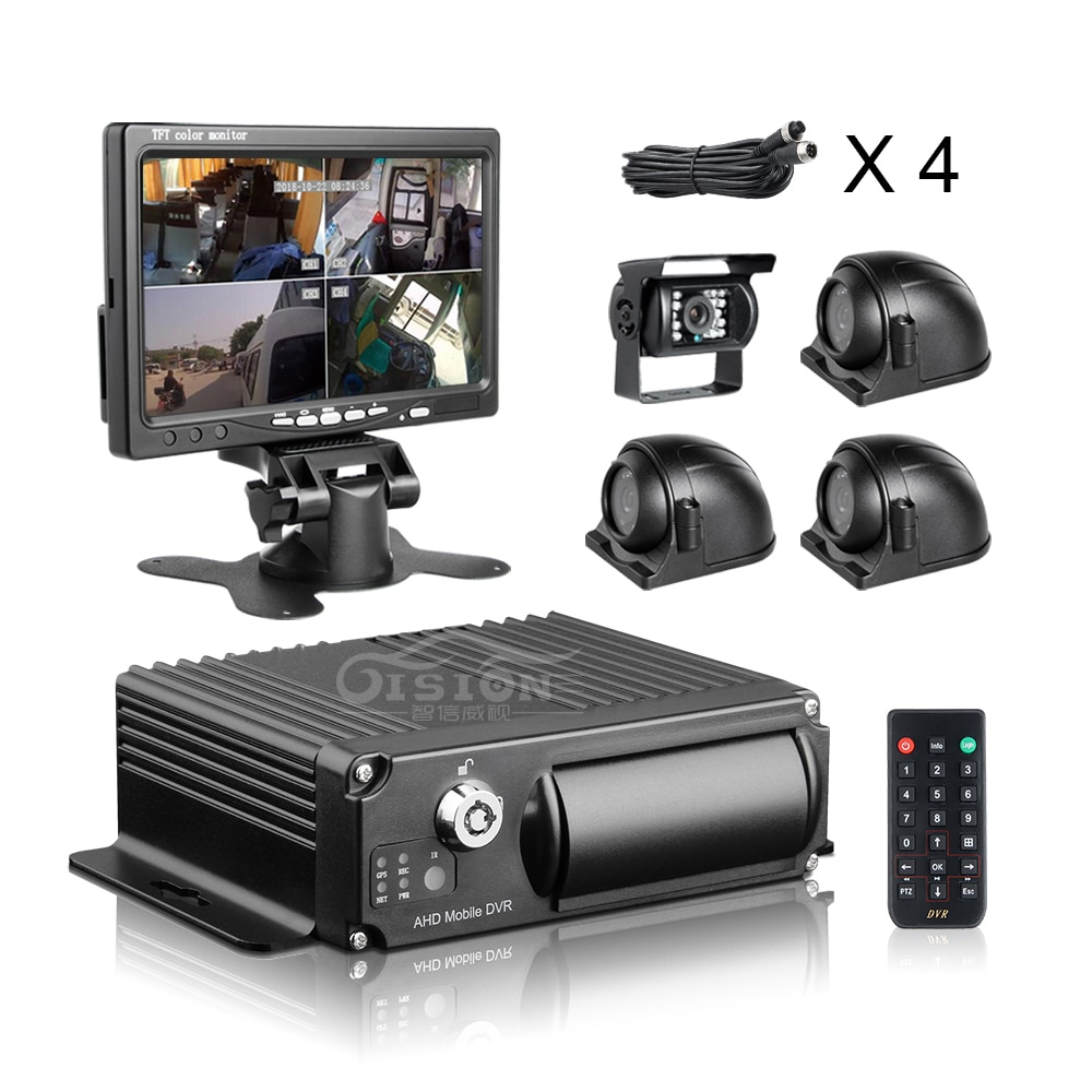 4CH H.265 Vehicle Car Mobile DVR MDVR Video Recorder System +1.3MP 720P Rear Side Front Camera for T