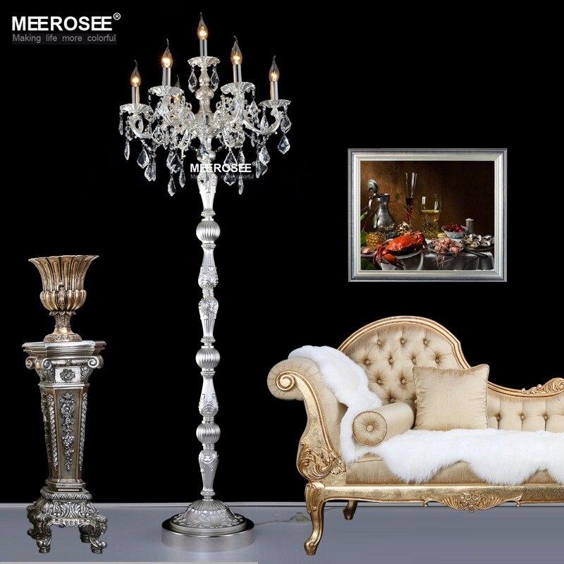 Lámpara de pie de Cristal para sala de estar, iluminación de suelo moderna, Color bronce y plateado