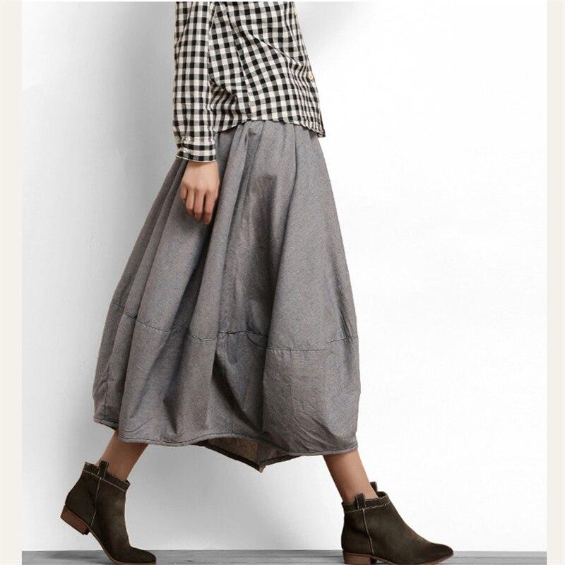 Farol de algodón Falda Mujer 2019 primavera otoño nueva falda de las mujeres en el párrafo largo de arte de gran tamaño ropa de cama retro falda