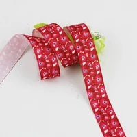 red flower ribbon printed grosgrain diy handmade bow hair ornament bowknot decorative tape gift wrapping paper 16 75mm