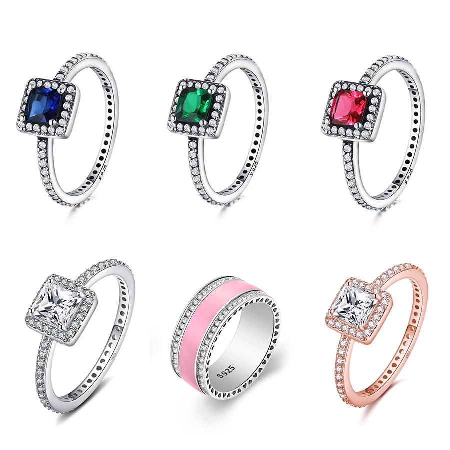 Большой Камень Розовая эмаль классическое круглое кольцо серебряного цвета палец кольцо для женщин ювелирные изделия