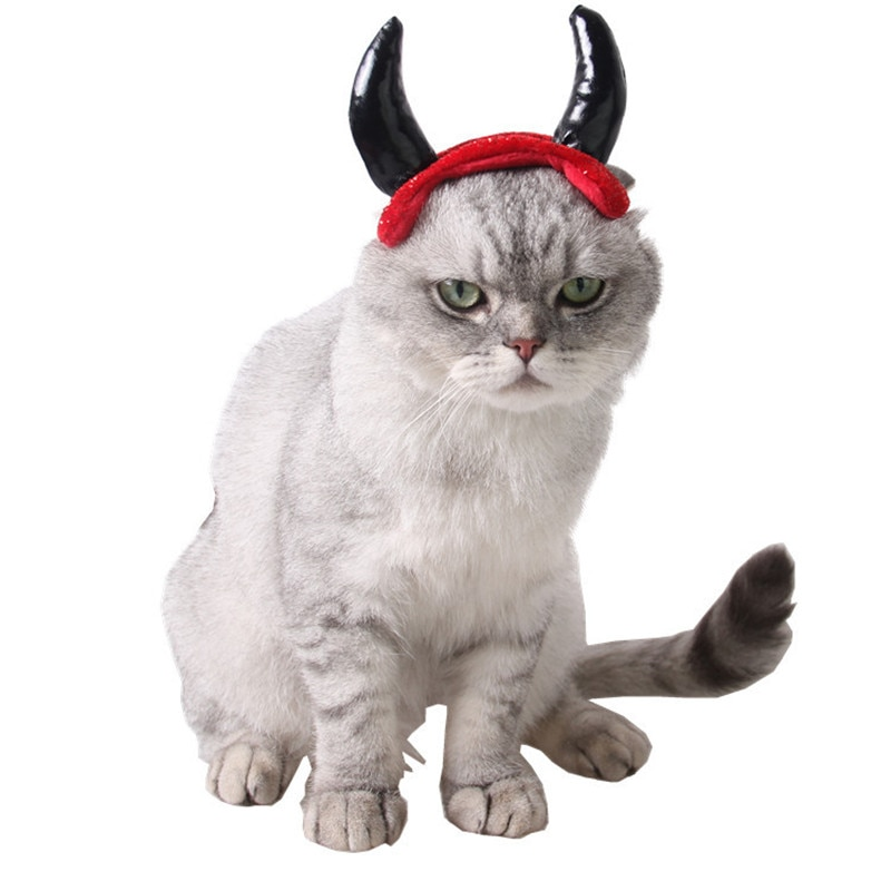 1 Pc divertido mascotas tapa asta traje sombrero Cosplay perro gato cachorro pelo accesorios cuerno Cap vampiro pequeño diablo Halloween suministros