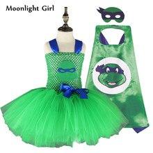 Green Ninja turtle Costume Baby Girls Ninja turtle Tutu Dress Mini Summer Girls Dresses Halloween Costume For Kids Clothes MK039