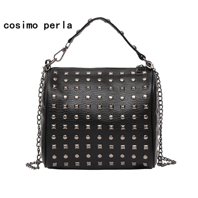 Bolsa de couro rebite bolsas corrente aleta saco senhora moda luxo crossbody sacos para as mulheres 2019 designer pequenos totes sacos ombro