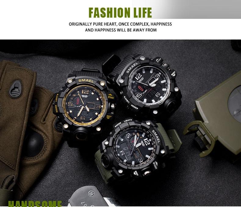 Reloj deportivo de alta calidad, reloj digital electrónico multifunción de doble pantalla para hombre, resistente al agua, para exteriores, 50M