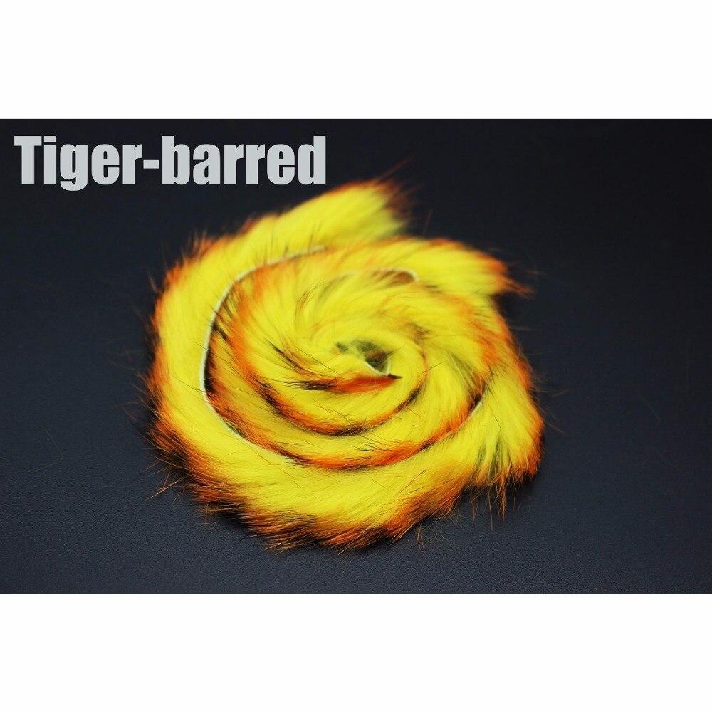 Tigofly 6 stücke Blau/Tiger Vergitterten Orange Farben Kaninchen Zonker Streifen Gerade Cut 4mm Breite Hare Haar Pelz bass Fliegen Binden Materialien