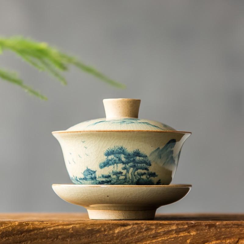 Chinese Tea Set Turee Gaiwan Vintage hand-painted Ceramic Teaware Sets Hand-painted Bone China porcelain Kung Fu Tea Set Bowl