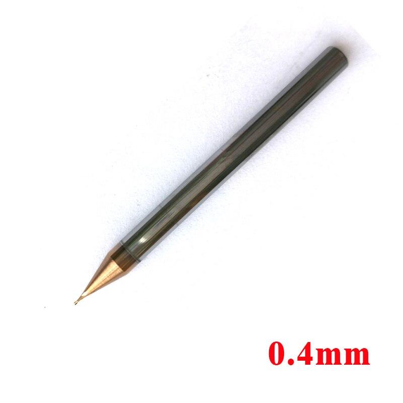 0,4mm D0.4 * 0,8 * D4 * 50 2 flautas HRC60 de plaza final Mills espiral Bits de carburo CNC brocas de enrutador plano